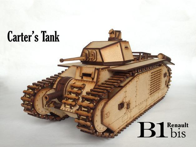 雷诺B1-bis重型坦克拼图模型钢筋激光雕刻线v坦克桥梁图纸图纸图片