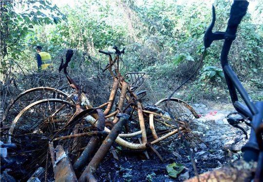 近百辆单车被烧毁 事发成都琉璃立交附近 - 点击图片进入下一页
