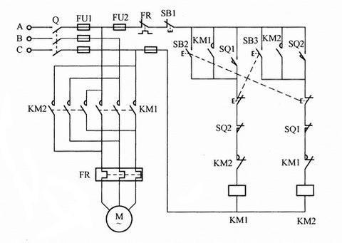 带行程开关控制自动往返的电动机电气原理图
