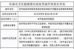 标题:吉林省结核病医院未按规定实施医疗质量安全管理制度等被罚15000元