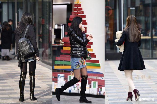 街拍:冬季丝袜美如画